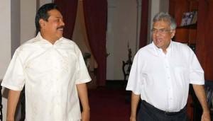 President Mahinda Rajapaksa and Opposition leader Ranil Wickremesinghe-pic: LankaeNews