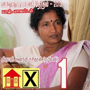 Ms. Anandhi Sasitharan in   campaign paraphernalia