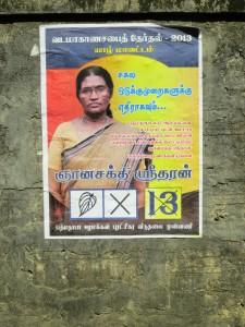 Gnanasakthy Sritharan's poster in Kokkuvil, Jaffna District