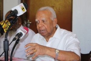 R. Sampanthan at the recent event releasing TNA Manifesto