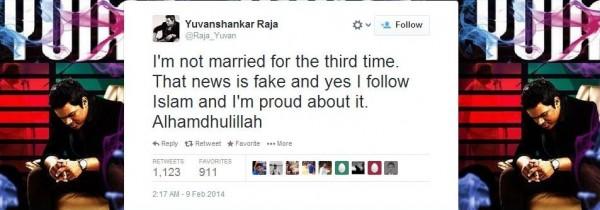 tweet by Yuvan Shankar Raja-However he is no longer on twiiter with the handle @Raja_Yuvan