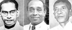 S.W.R.D. Bandaranaike, G.G. Ponnambalam and S.J.V. Chelvanayagam
