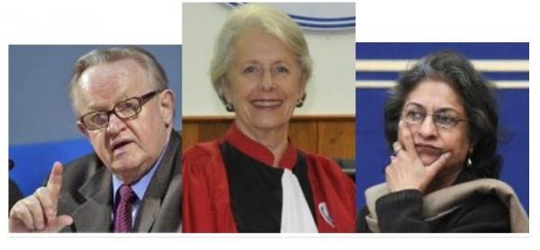 Nobel Laureate Martti Ahtisaari, Justice Ms Silvia Cartwright and Ms Asma Jahangir