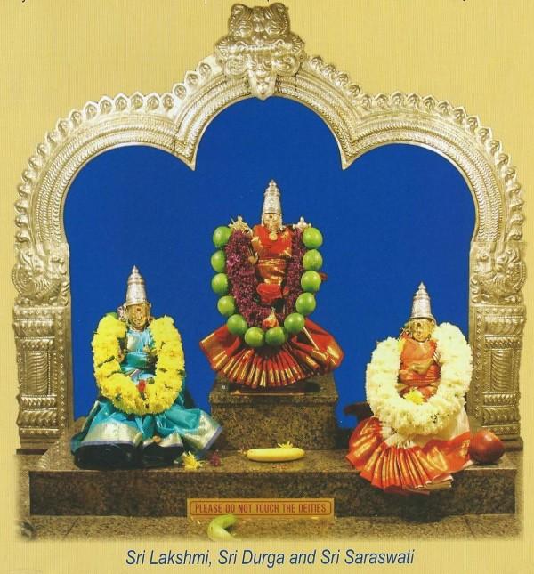 Sri Lakshmi, Sri Durga & Sri Saraswathy-at Sri Venkateswara Tempe, Bridgewater, NJ-pic cia Temple 2014 calendar