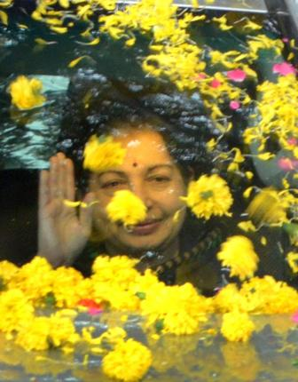 Former Chief Minister Jayalalithaa arrives at the HAL Airport after being released on bail from Central Prison at Parappana Agrahara in Bangalore on Saturday. Photo: K. Bhagya Prakash-courtesy: The Hindu