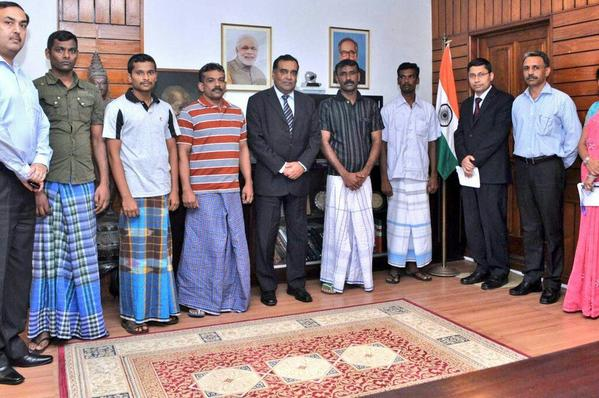 High Commissioner of India, Y. K. Sinha, met the five fishermen after their release to ascertain their well being.- pic via: twitter.com/Madrassan