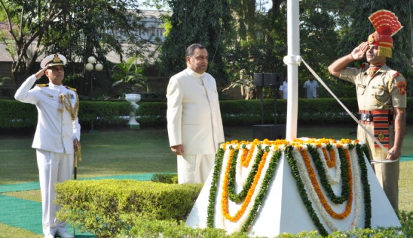 High Commissioner H.E. Y.K.Sinha at the flag hoisting ceremony at India House on Republic Day - 26 January 2014