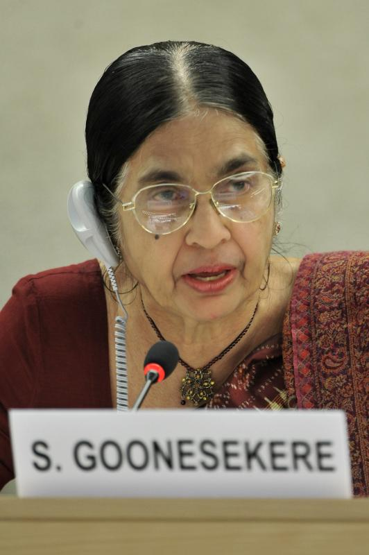 Savitri Goonesekere, Emeritus Professor of Law, University of Colombo, Sri Lanka and Member of the Advisory Committee, International Women's Rights Action Watch Asia Pacific  addresses during the 18th Session Human Rights Council. UN Photo / Jean-Marc Ferré-Sept, 2011