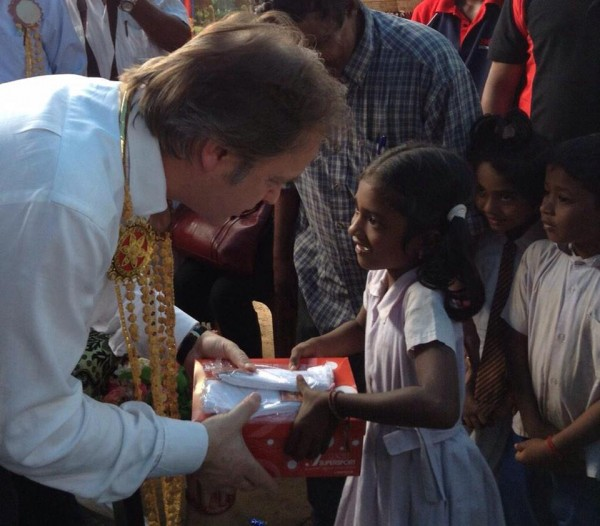 Hugo Swire, Minister of State-UK Foreign Office delivered shoes from @UKinSriLanka at Sabapathypillai Welfare Village, Sri Lanka North-Jan 29, 2015