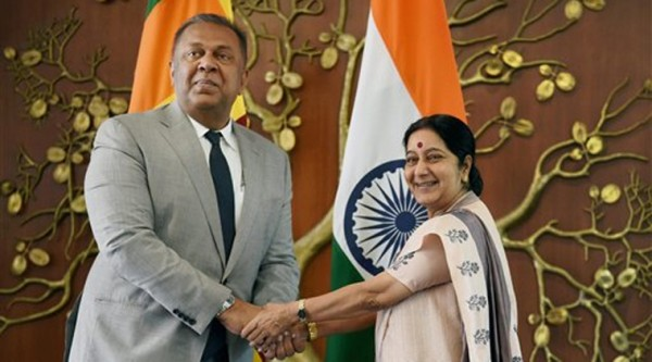 Foreign Minister Mangala Samaraweera External Affairs with Minister Sushma Swaraj