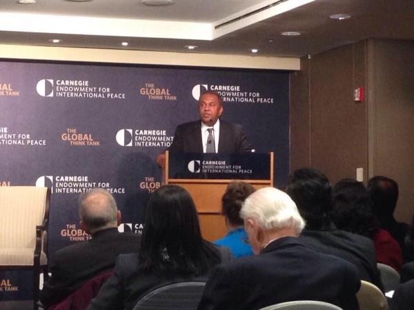 Foreign minister Mangala Samaraweera speaking at @CarnegieEndow in DC-pic: twitter.com/SumitAndTheCity