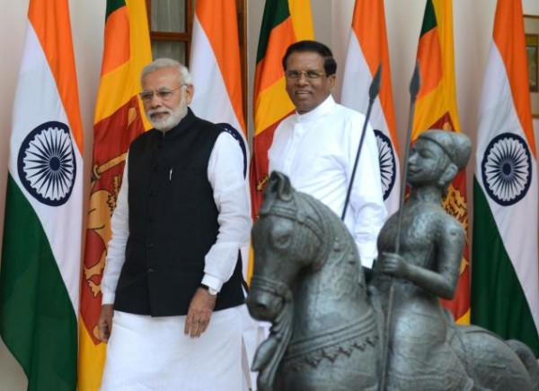 """It is up to President Maithripala Sirisena and the new dispensation in Sri Lanka to welcome Prime Minister Narendra Modi with open arms but remain non-aligned."" Picture shows the two leaders in New Delhi in February 2015. (The Hindu)"