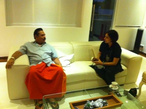 Former Sri Lankan President Mahinda Rajapaksa bveing interviwed by Suhasini Haidar