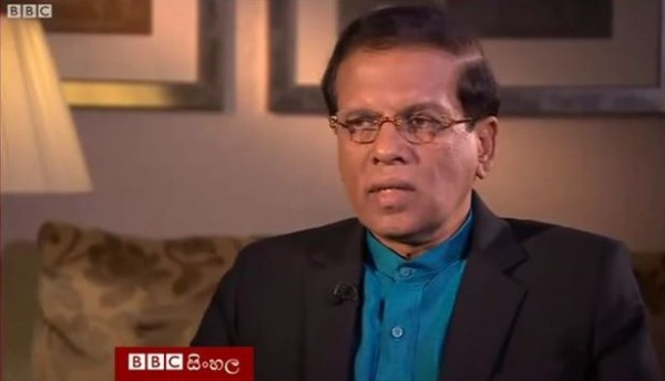 President Maithripala Sirisena during the BBC Interview