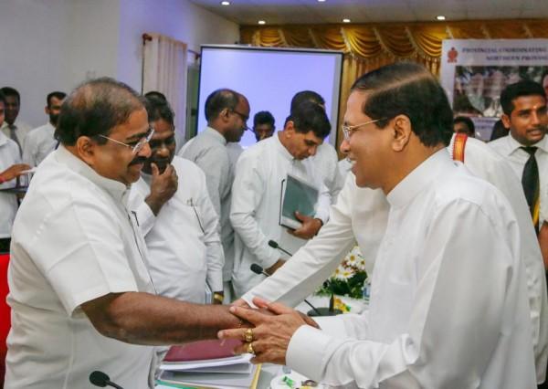 Kandiah Premachandran alias Suresh & President Maithripala Sirisena in Jaffna-Mar 2015