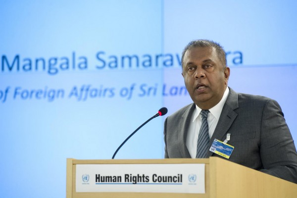 Mangala Samaraweera, Minister for Foreign Affairs, Sri Lanka addresses during the High Level Segment of the 28th Session of the Human Rights Council, Palais des Nations. Monday 2 March 2015. Photo by Violaine Martin