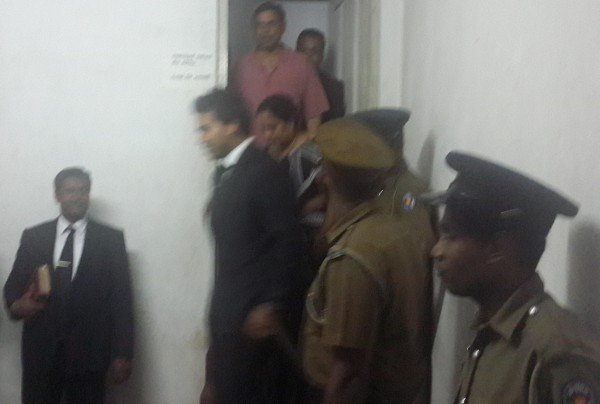 Basil Rajapaksa leaving the Magistrate's Chambers on April 22nd at 11.35 p.m