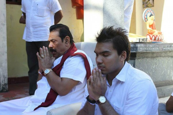 Former President Mahinda Rajapaksa and son Namalm Rajapaksa MP on April 14, 2015-pic: facebook.com/PresidentRajapaksa
