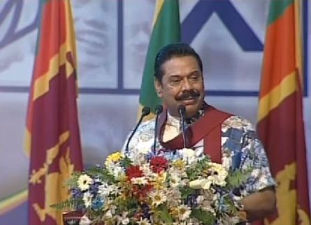 Former President Mahinda Rajapaksa at a campaign rally for the Jan 8th presidential election