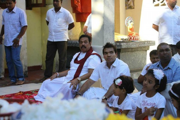 Former President Mahinda Rajapaksa & son Namal Rajapaksa MP on Sinhala-Tamil New Year day-Apr 14, 2015