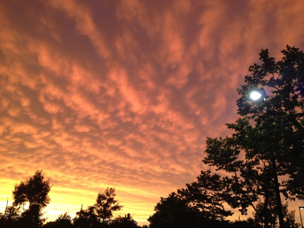 The sky with golden clouds  and the earth down below felt like in dome of orange flood lights
