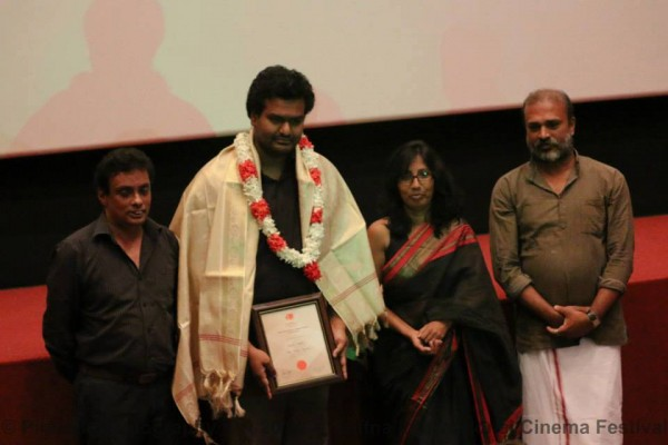 Malith Hegoda received the Best Debut Film Award from the Critics Jury for his film 'The Strange Familiar' - (L) TO (R) Prasanna Vithanage, Malith Hegoda, Anomaa Rajakaruna and Packiyanathan Ahilan-Pic via: facebook.com/JaffnaInternationalCinemaFestival/