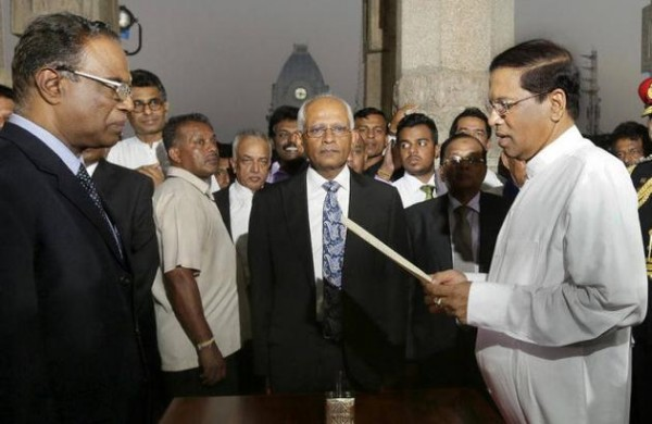 The newly elected President Maithripala Sirisena takes oath at the Independence Square in Colombo (pic: courtesy of The Hindu)