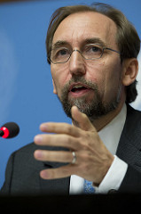 Zeid Ra'ad Zeid Al Hussein, United Nations High Commissioner for Human Rights at a press conference during of the 30th regular Session at the Human Rights Council. 16 September 2015. UN Photo / Jean-Marc Ferré