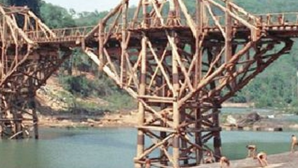 A still of the bridge from the movie The Bridge On The River Kwai