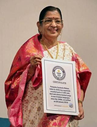 Legendary playback singer P. Susheela holds certificate of Guinness World Records title for the highest number of solo, duet and chorus backed songs in over six Indian languages. In an official certificate presented by Guinness it was verified that she has sung 17,695 solo, duet and chorus backed songs as on January 28, 2016. - PTI