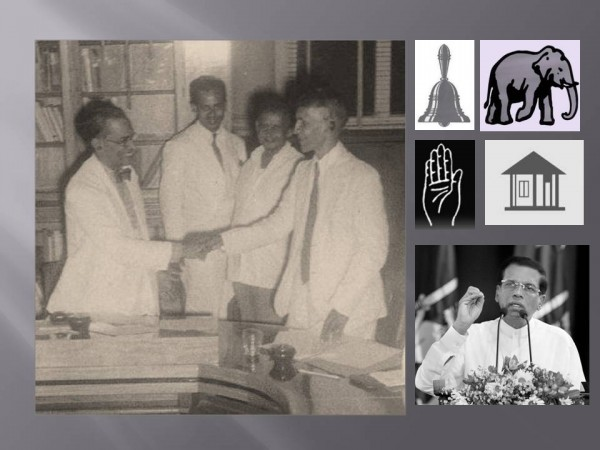 PRIME MINISTER S.W.R.D. Bandaranaike (left) and S.J.V. Chelvanayagam, leader of the Thamil Arasu Katchi, shake hands after signing what came to be known as the Bandaranaike-Chelvanayagam Pact on July 26, 1957 (pic via: The Hindu ~ Also in pic: Symbols of JVP, UNP, SLFP & ITAK; and President Maithripala Sirisena