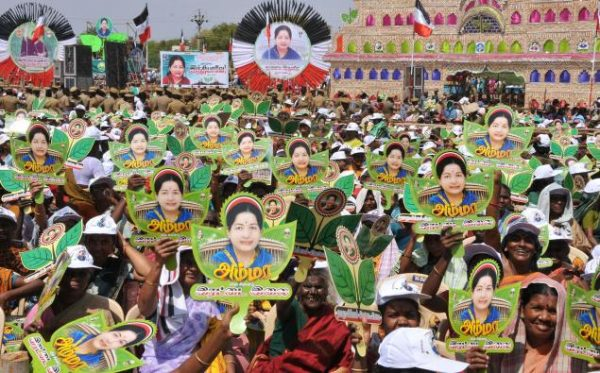 AIADMK supporters wave the party symbol at a meeting addressed by Tamil Nadu Chief Minister Jayalalithaa in Madurai (2014). Photo: S. James-The Hindu